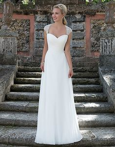 Style 3905: Chiffon Ball gown accented with a Sweetheart neckline | Sincerity Bridal