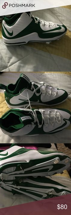 Sports cleats Green and white brand new Nike MVP elites Nike Shoes Athletic Shoes