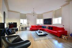 large red corner sofa