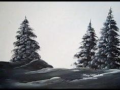 "Mary Hildesheim lesson for snowy trees: ""Learn how to paint easy evergreen trees. You can paint these little trees with my fast and easy method. Simple Oil Painting, Tole Painting, Painting & Drawing, Watercolor Paintings, Painting Trees, Oil Paintings, Watercolors, Acrylic Painting Techniques, Painting Videos"