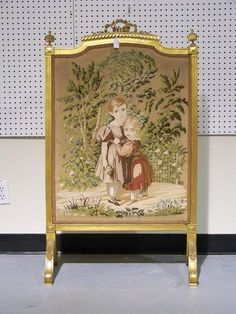 Needle point of young children in a landscape background. Types Of Furniture, Furniture Styles, Furniture Decor, Victorian Fireplace Screens, Floor Screen, Dressing Screen, Easter Wishes, Fireplace Accessories, Decoration