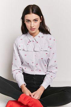 Pinstripe Cherry Shirt - Forever 21