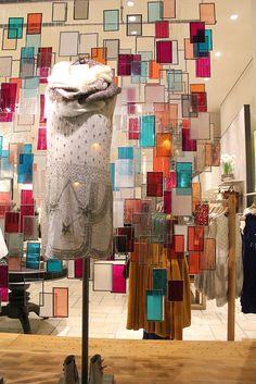 Anthropologie shop visual merchandising display installation,