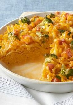 Mac 'N Cheese Pie — They always like to hear they're having mac and cheese. Wait until they see it in pie form, loaded up with chopped ham, a bit of broccoli and extra cheese!