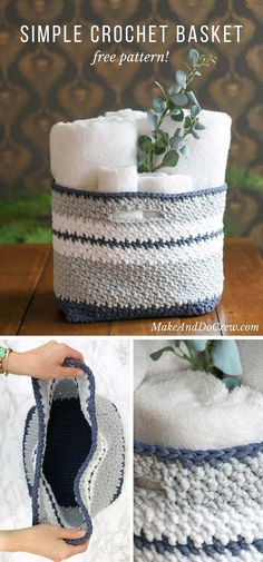 This easy crochet basket pattern is quick to work up and perfect for holding toys, towels, toilet paper, or best of all, yarn! Free crochet pattern using Lion Brand Fast-Track yarn.