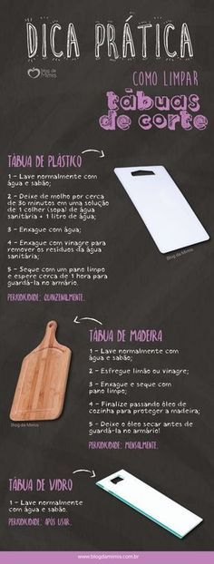 Dica prática: como limpar tábuas de corte - Blog da Mimis - #infográfico #blogdamimis #saúde #culinária Flylady, Personal Organizer, Green Cleaning, Home Hacks, Kitchen Hacks, Home Organization, Keep It Cleaner, Clean House, Cleaning Hacks