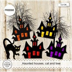Freebie - Haunted houses, cat and tree for Halloween - CU Halloween Doodle, Halloween Birthday, Halloween Party Decor, Halloween Cards, Holidays Halloween, Fall Halloween, Happy Halloween, Halloween Plates, 1st Grade Crafts