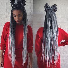 Afropower instagram @nakittahannah #boxbraids #grey #greyhair #protectivestyle #braids #hairinspiration #afrohair #ombrehair