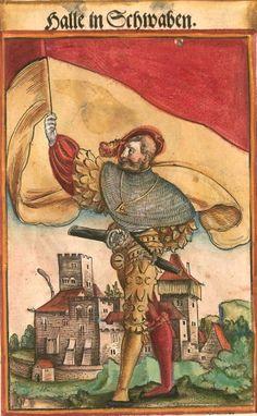 """Schwäbisch Hall [Halle in Schwaben] (f°100) -- Koebel, Jacob, """"Wapen des heyligen römischen Reichs teutscher Nation"""", Franckfurth am Main, 1545 [BSB Ms. Rar. 2155]"""