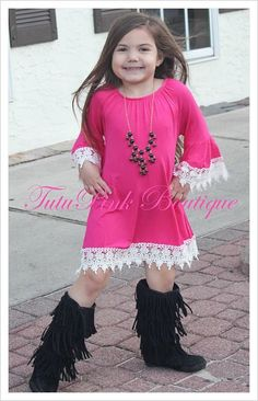 BOHO Boutique Tunic Dress Hot Pink
