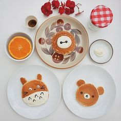 """""""It's always a good time to have pancakes  .. Especially if they're in the shape of totoro, rilakkuma  and baymax  #foodporn #foodpic #pancakes…"""""""