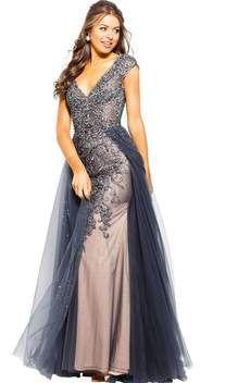 d168c8a6944 Jovani - JVN60967 Cap Sleeve Tulle Overlaid Sheath Gown
