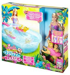 Dive into fun with this Barbie pool play set. Join Barbie doll (wearing a color-change swimsuit) swimming mommy dog and puppy for complete pet play right out of the box with this fun pool play set! Barbie Car, Barbie Sets, Barbie House, Barbie Dolls, Best Christmas Toys, Kids Christmas, Disney Frozen Bedroom, Custom Barbie, Doll House Plans