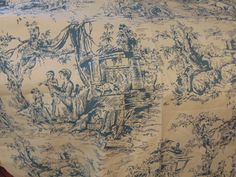Blue White Toile Fabric 6 Yards  Vintage by Sewingthrutheyears