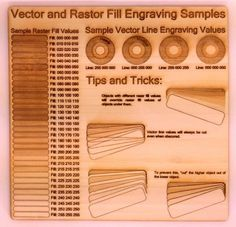 Vector & Raster engraving examples - cheat sheet template file that fits a Ponoko P1 sheet