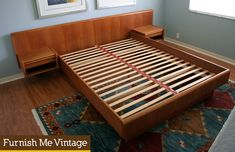 Vintage Danish Teak King Size Floating Platform Bed With Attached Night Stands Style