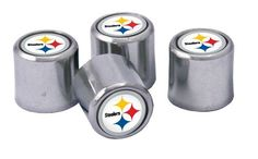 Picture of Pittsburgh Steelers Pack Valve Stem Covers Pittsburgh Steelers Logo, Steeler Nation, Steel Wheels, Nfl Football, Steelers Stuff, Packing, Stems, Man Cave, Cover