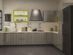 Frassino L-shaped Modular Kitchen Ebony Sepia & Pastel Green L Shaped Modular Kitchen, L Shaped Kitchen, Straight Kitchen, Grey Wood, Home Kitchens, Kitchen Cabinets, New Homes, House Design, Modern