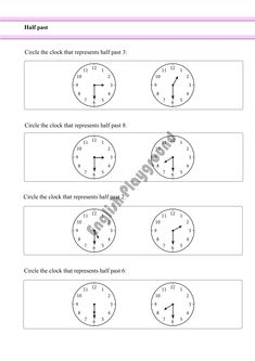 Halves mathematics exercises for reception and year 1 measurement telling the time worksheet to learn half past clocks for year 1 students ibookread Download