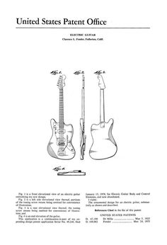 Beautifully illustrated guides to car mechanics, automotive engineering and tools. Fender Bass Guitar, Leo Fender, Fender Guitars, Guitar Amp, Ukulele, Instruments, Patent Drawing, Guitar Body, Jazz