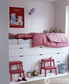 Elevated bed with tons of storage. #kids #beds #decor