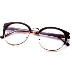 2a9b38c41d SheIn(sheinside) Brown Frame Semi Rimless Metal Trim Glasses ( 9) found on Polyvore  featuring accessories
