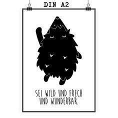 Sei wild und frech und wunderbar.  Poster DIN A2 Igel am Ballon von Panda_Love | fashn.de: Wohnaccessoires