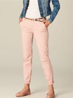 Kalhoty cigaretového střihu s kapsami - růžová - SN251-39X - Mohito - 1