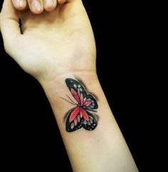 Fantastic Colorful Butterfly Tattoo for Wrist