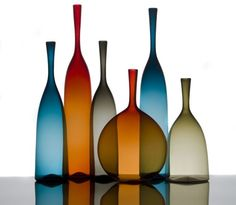 Joe Cariati Glass Collection, Glassblower in Los Angeles, Contemporary Decanters Deco Design, Glass Design, Bottle Vase, Glass Bottles, Tall Cylinder Vases, Casper The Friendly Ghost, Modern Glass, Glass Collection, Flower Vases