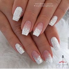 Short Coffin Nail Ideas For Spring – Page 6 of 6 – Vida Joven - Nail Art Designs 2020 Jolie Nail Art, Tapered Square Nails, Short Square Nails, Silver Glitter Nails, Glitter Nail Art, White And Silver Nails, Silver Acrylic Nails, Glitter Wedding Nails, White Sparkle Nails