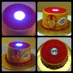 """Iron Man cake with """"working"""" arc reactor. www.facebook.com/gingerlycreated"""