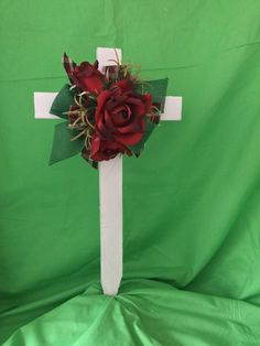 Cemetery cross for grave / memorial decoration. This wooden cross is painted whi. - I am Gina Grave Flowers, Cemetery Flowers, Memorial Gifts, Memorial Day, Cemetary Decorations, Cemetery Vases, Altar, Dark Red Roses, Cross Wreath