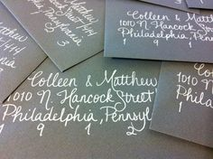 wedding invitation calligraphy on black envelopes (raece's mom could so do this)