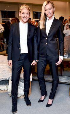 A look at Ellen DeGeneres's celebration at Bergdorf Goodman to celebrate Fashion Week. Ellen DeGeneres ED by Ellen Launch at Bergdorf Goodman Image source Queer Fashion, Androgynous Fashion, Tomboy Fashion, Suit Fashion, Fashion Outfits, Androgyny, Butch Fashion, Fashion Trends, Ellen Degeneres And Portia