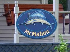 The marlin on this stunning house sign looks real enough to swim away! Artwork and text on this sign were all hand carved. Beach House Signs, Home Signs, Drawing Furniture, Fish Artwork, Shop Signage, Fishing Signs, Fish Logo, Shopping Street, Business Signs