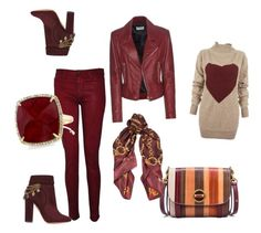 """burgandy"" by reynolds-deborah on Polyvore featuring Aquazzura, Tory Burch, Vivienne Westwood Anglomania, Hudson, Roberto Cavalli, Anne Sisteron and Balenciaga"