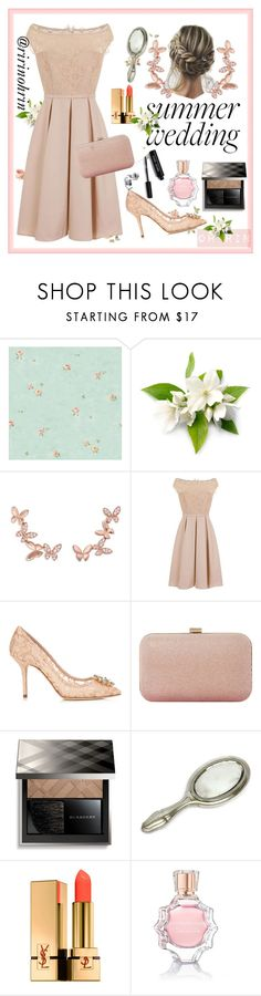 """summer wedding guest"" by rindularas on Polyvore featuring Anyallerie, Little Mistress, Dolce&Gabbana, Dune, Burberry, Yves Saint Laurent, Oscar de la Renta and Bobbi Brown Cosmetics"