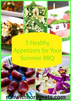 If you're heading to a summer BBQ, it can sometimes be tough to find something healthy to eat!  Here are 5 delicious, easy to make appetizers that are healthy and refreshing!  Find more healthy recipes at runwithnoregrets.com!