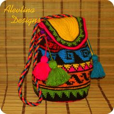 Crochet tapestry Wayuu Bag mochila colombian by AlevtinaDesigns Colorful Tapestry, Boho Tapestry, Tapestry Bag, Tapestry Crochet Patterns, Crochet Motif, Crochet Chart, Mochila Tote, Mochila Crochet, Crochet Backpack