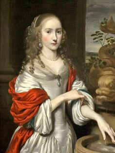 """""""Young Lady by a Fountain"""" by Nicolaes Maes (1664):"""