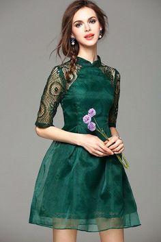 Cotton Blends Solid Half Sleeve Above Knee Vintage Dresses Vestidos Vintage, Vintage Dresses, Colorful Fashion, Asian Fashion, Girl Fashion, Dama Dresses, Short Dresses, Ao Dai, Pretty Dresses