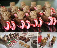 How to make teddy beat christmas sleigh snacks chocolate dessert diy treats teddy bear candy cane diy christmas