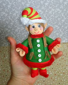Quilling art Christmas Elf Paper art Handmade toy Christmas