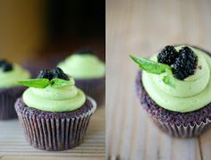 Mulberry Cupcakes with Matcha Frosting