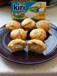 Muffins au kiri chèvre et olives - On peut varier les kiri, remplacer les olives par des noisettes etc...