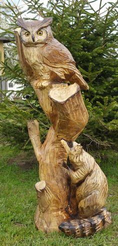 Chainsaw Carving, Owl, Raccoon, Tree, Yard Decoration, Wood Carving, Chainsaw Art, Sculpture, Statue, Animal, Birding, Wooden