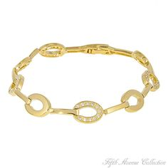 Crazy Oval You - A medley of horseshoes are studded with dozens of triple A quality cubic zirconia in this lovely and most unusually designed tennis bracelet, finished in your choice of rich rhodium or gleaming gold.