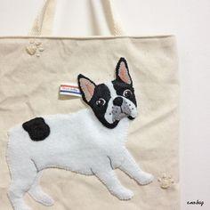 inu no bag ...french bulldog (イヌ ノ バッグ ...フレンチブルドッグ) French Bulldog felt embroidery mini bag by e.no.bag