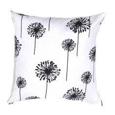 Items similar to Gorgeous Dandelion in Black on White Pillow Cover, Decor Pillow, Accent Pillow, Designer Pillow on Etsy Black Pillow Covers, Cushion Covers, Throw Pillow Covers, Toss Pillows, Decorative Throw Pillows, Black And White Pillows, Black White, Large Black, Color Black